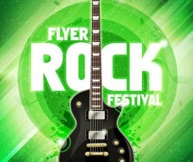 Music festival gruen flyer guitar vector