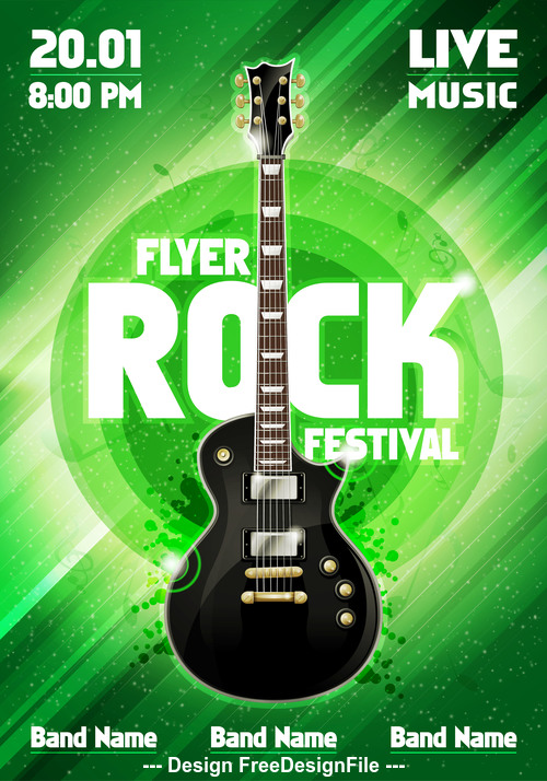 Music festival gruen flyer guitar vector