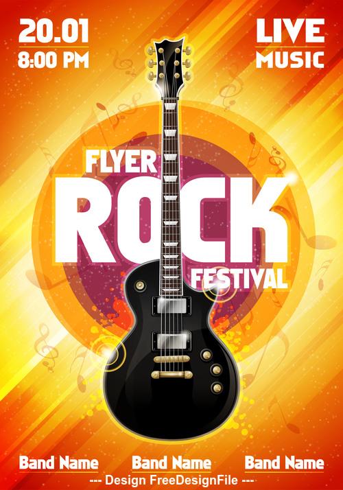Music festival orange flyer guitar vector