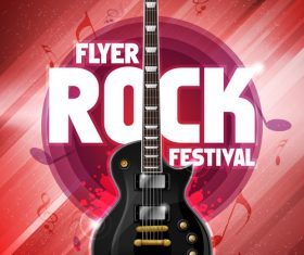 Music festival rot flyer guitar vector