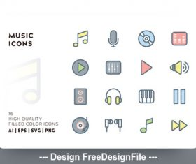 Music filled color vector