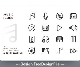 Music outline vector