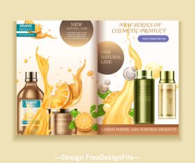 Natural fruit cosmetics advertising poster vector