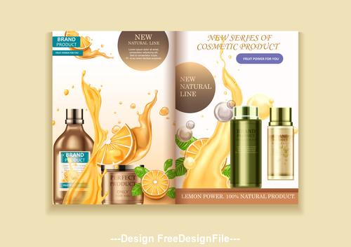 Natural fruit cosmetics advertising poster vector