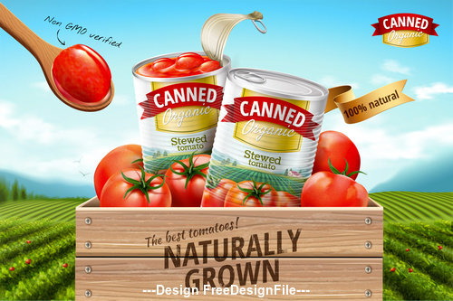 Naturally grown canned tomato poster vector