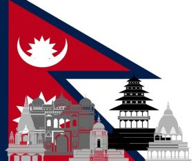 Nepal collection of different architecture vector