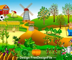 New windmill farm illustration vector