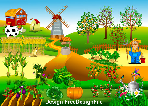 New windmill farm illustration vector