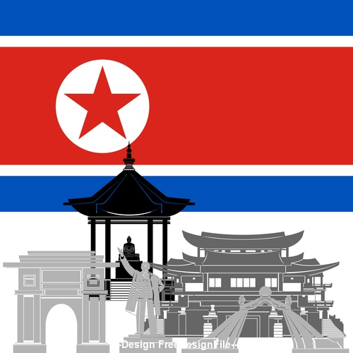 North Korea collection of different architecture vector
