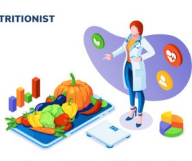 Nutritionist cartoon illustration vector