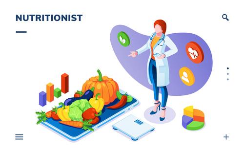Nutritionist cartoon illustration vector