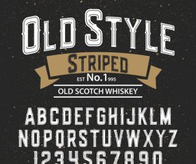 Old Style Striped script font vector