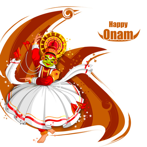 Onam Indian traditional dance vector