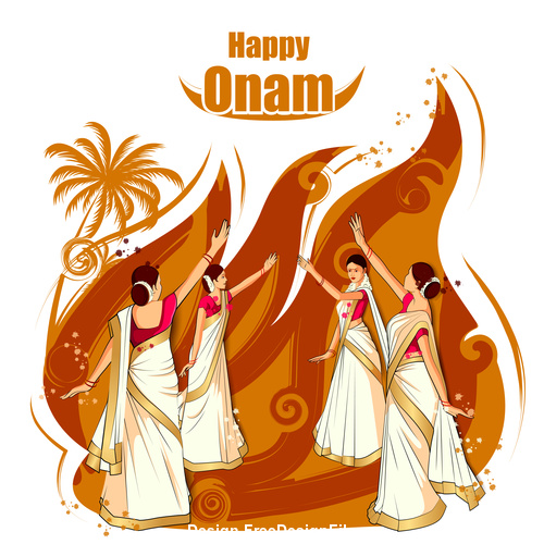Onam celebration of the most colorful festivals in India vector
