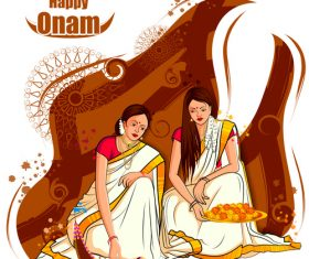 Onam festival celebrations in India vector