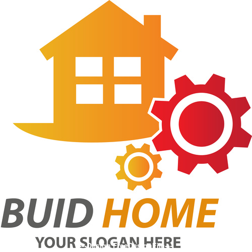 Orange Buid Home Logo vector