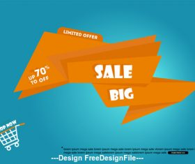 Orange origami promotional label vector