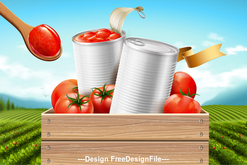 Organic tomato canned advertising poster vector