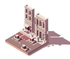 Origami building vector