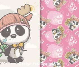 Panda and flower cartoon seamless pattern vector