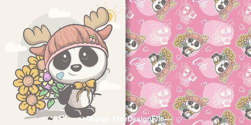 Panda and flower cartoon seamless pattern vector