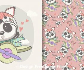 Panda cartoon on the plane seamless pattern vector