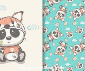 Panda holding balloon cartoon seamless pattern vector