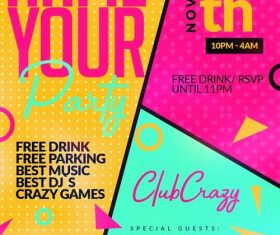 Party flyer colored psd template
