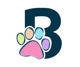 Paws font vector alphabet B