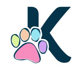 Paws font vector alphabet K