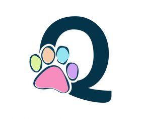Paws font vector alphabet Q
