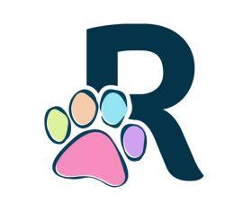 Paws font vector alphabet R
