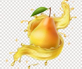 Pear 3D realistic juice advertising vector packaging design