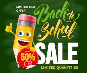 Pencil sale design template vector