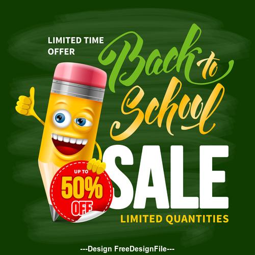 Pencil sale design template vector
