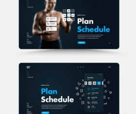 Personal trainer website main page vector