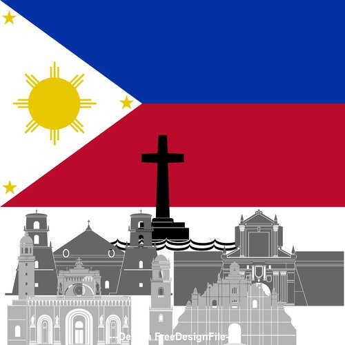 Philippines collection of different architecture vector