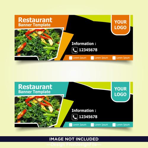 Phone order food banner template design vector