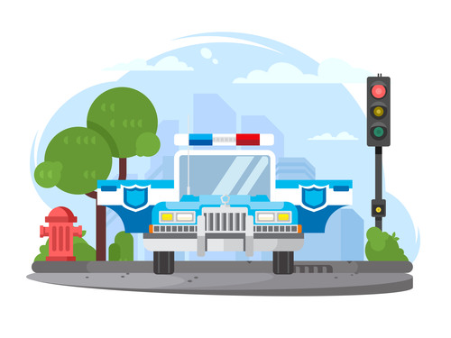 Police Car Conceptual Illustrations vector