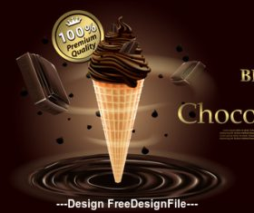 Premium brand chocolate ice cream and chocolate vector illustration