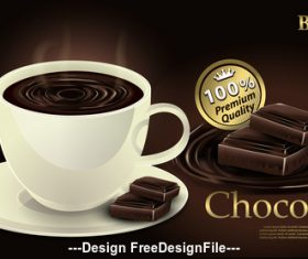 Premium chocolate with cup vector illustration