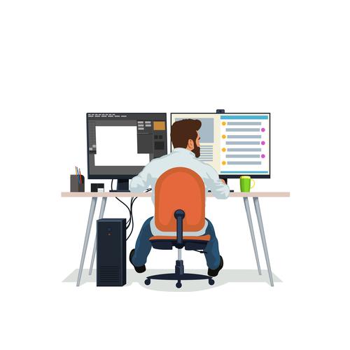 Programmer in front of computer vector