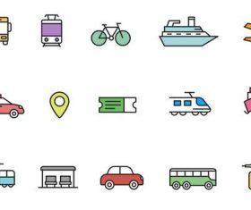 Public Transport Icons vector