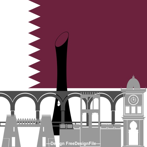 Qatar collection of different architecture vector