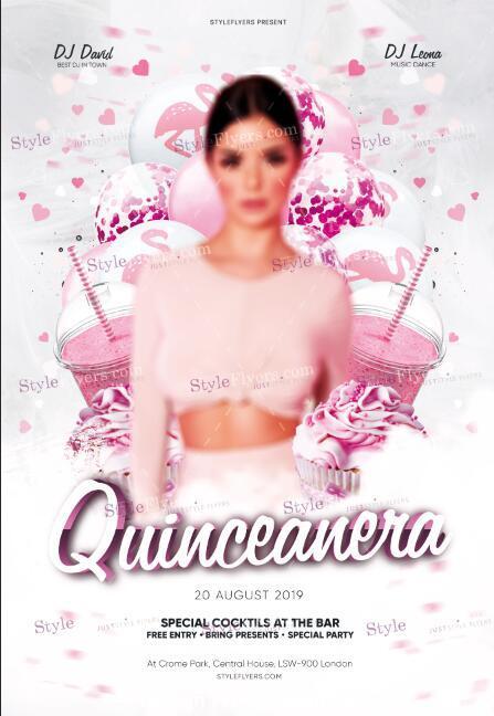 Quinceanera psd flyer template