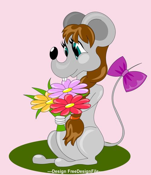 Rat cartoon symbol of new year 2020 illustration vector