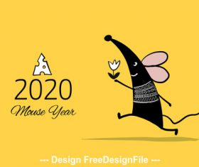 Rat new year 2020 and flower funny cartoon vector