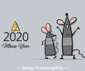 Rat symbol of new year 2020 funny cartoon vector 01