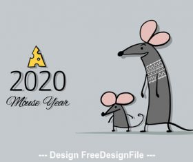Rat symbol of new year 2020 funny cartoon vector 02