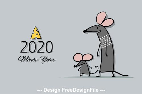 Rat symbol of new year 2020 funny cartoon vector 02